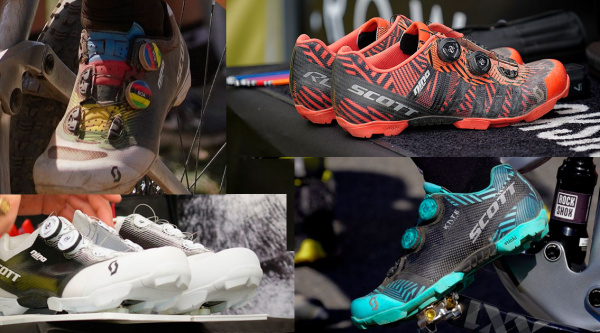 Las 4 zapatillas personalizadas Scott RC SL y RC Ultimate de Nino Schurter y Kate Courtney
