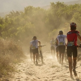 Riders battled their way through deep soft sand during stage 1 of the 2013 Absa Cape Epic Mountain Bike stage race held from Citrusdal, South Africa on the 18 March 2013  Photo by Greg Beadle/Cape Epic/SPORTZPICS