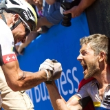 Urs Huber and Karl Platt of the Bulls celebrate after winning stage 2 during stage 2 of the 2013 Absa Cape Epic Mountain Bike stage race from Citrusdal to Saronsberg Wine Estate in Tulbagh, South Africa on the 19 March 2013  Photo by Karin Schermbrucker/Cape Epic/SPORTZPICS