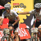 Jaroslave Kulhavy and Christoph Sauser of Burry Stander - Songo cross the line in third place during stage 2 of the 2013 Absa Cape Epic Mountain Bike stage race from Citrusdal to Saronsberg Wine Estate in Tulbagh, South Africa on the 19 March 2013  Photo by Shaun Roy/Cape Epic/SPORTZPICS