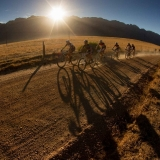 Riders in the early morning light during stage 2 of the 2013 Absa Cape Epic Mountain Bike stage race from Citrusdal to Saronsberg Wine Estate in Tulbagh, South Africa on the 19 March 2013  Photo by Greg Beadle/Cape Epic/SPORTZPICS