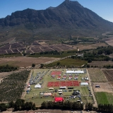 Aerial view from the chopper of the race village during stage 3 of the 2013 Absa Cape Epic Mountain Bike stage race held from Saronsberg Wine Estate in Tulbagh, South Africa on the 20 March 2013  Photo by Karin Schermbrucker/Cape Epic/SPORTZPICS