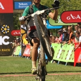 Marco Aurelio Fontana of Cannondale Factory Racing celebrates after finishing second during stage 4 of the 2013 Absa Cape Epic Mountain Bike stage race from Saronsberg Wine Estate in Tulbagh to Wellington, South Africa on the 21 March 2013  Photo by Shaun Roy/Cape Epic/SPORTZPICS