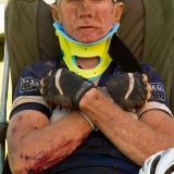 Linus van Onselen awaits an ambulance after an accident during stage 4 of the 2013 Absa Cape Epic Mountain Bike stage race from Saronsberg Wine Estate in Tulbagh to Wellington, South Africa on the 21 March 2013  Photo by Greg Beadle/Cape Epic/SPORTZPICS