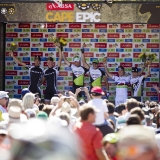 LOURENSFORD - stage podium (L to R) Philip Buys & Mathys Beukes (2nd), Rudi Van Houts & Jose Hermida of Multivan Merida (1st), Nino Schurter & Florian Vogel of Scott-Swisspower (3rd) during the final stage (stage 7) of the 2013 Absa Cape Epic Mountain Bike stage race from Stellenbosch to Lourensford Wine Estate in Somerset West, South Africa on the 24 March 2013  Photo by Gary Perkin/Cape Epic/SPORTZPICS