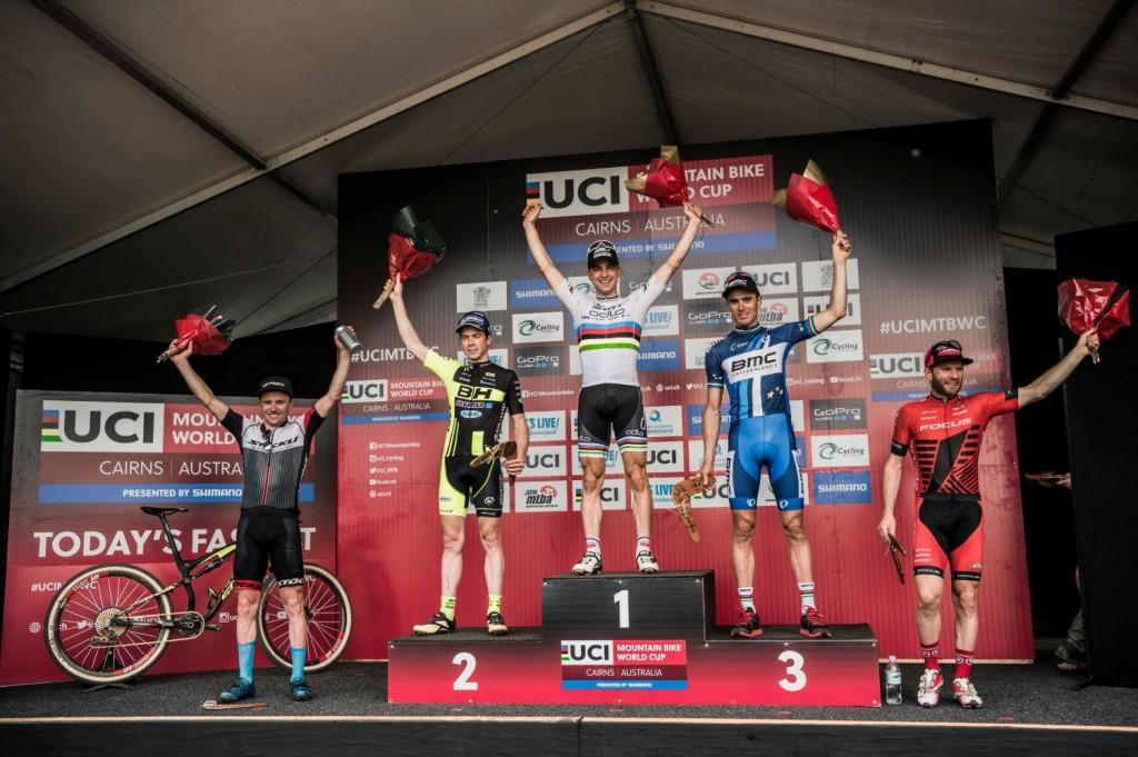 El podio copado por suizos (3) y franceses (2). Un claro resumen de la situación actual del XCO mundial. Foto Bartek Wolinski/Red Bull