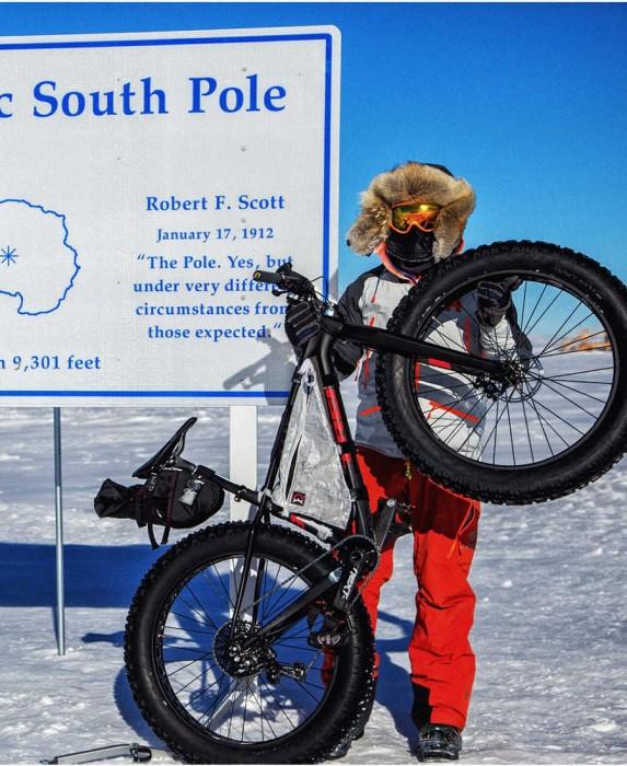 La primera bicicleta en el polo sur