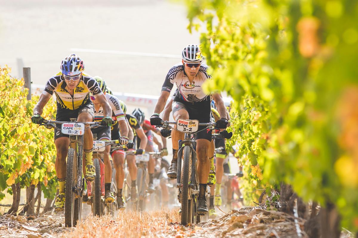 Tampoco faltan los pasos por viñedos. Sello de la Absa Cape Epic. Foto Ewald Sadie/Cape Epic/SPORTZPICS