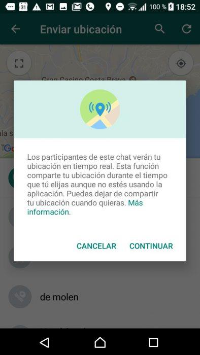 Whatsapp, compartir ubicación tiempo real