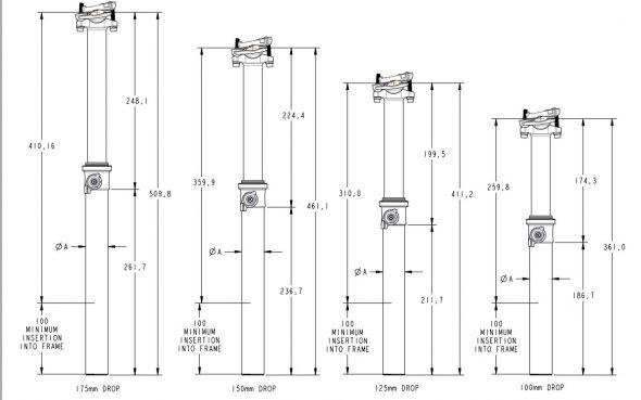 Medidas de la tija telescópica Fox Transfer con cableado externo