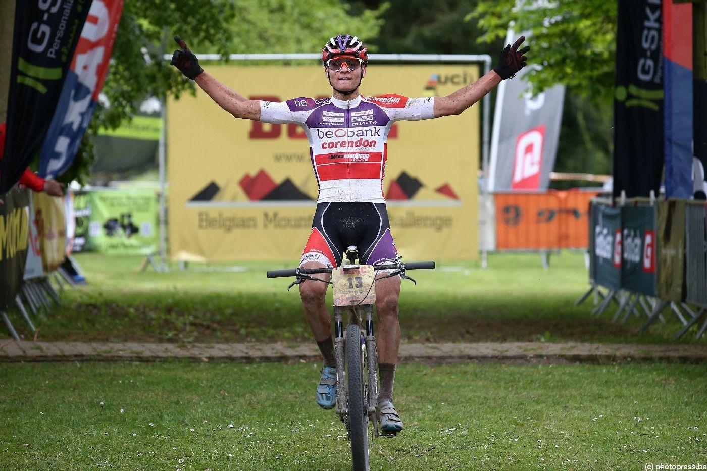 Mathieu van der Poel ganando en la Belgian Mountainbike Challenge (BeMC) 2017